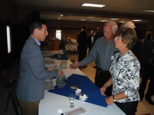 Ontario PC Leader Patrick Brown shakes hands with constituents in Leeds Grenville